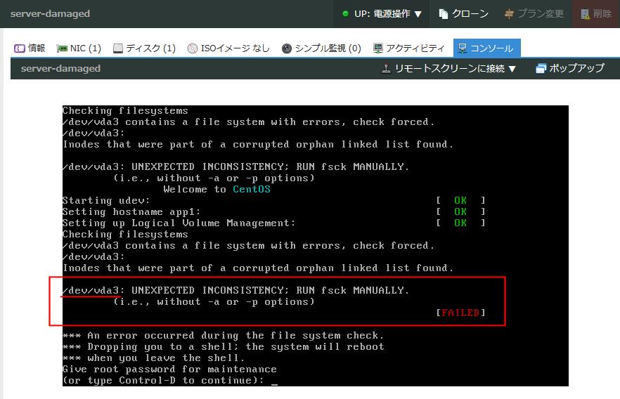 Procedures for implementing fsck that uses Linux server